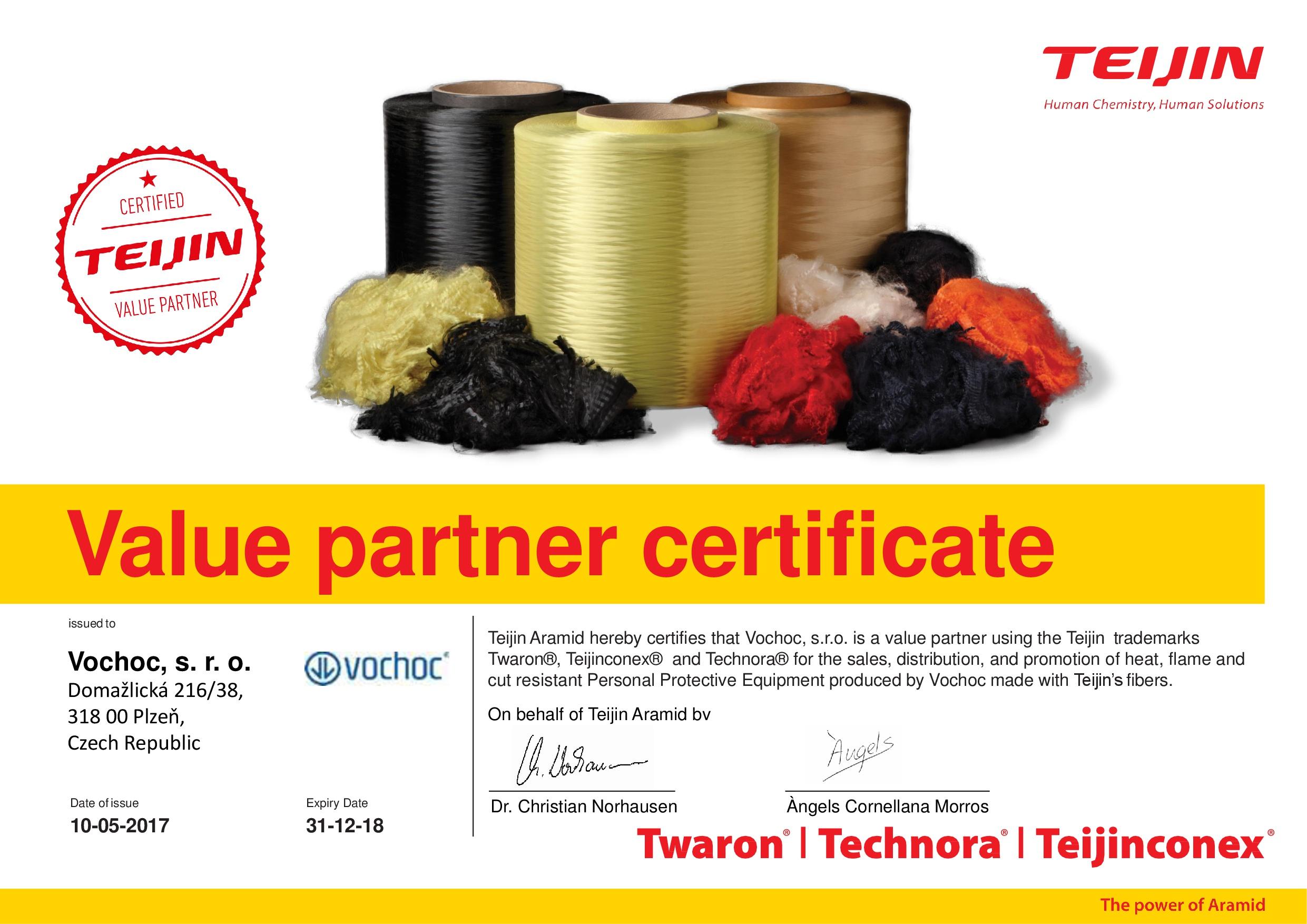 Teijin Certificate